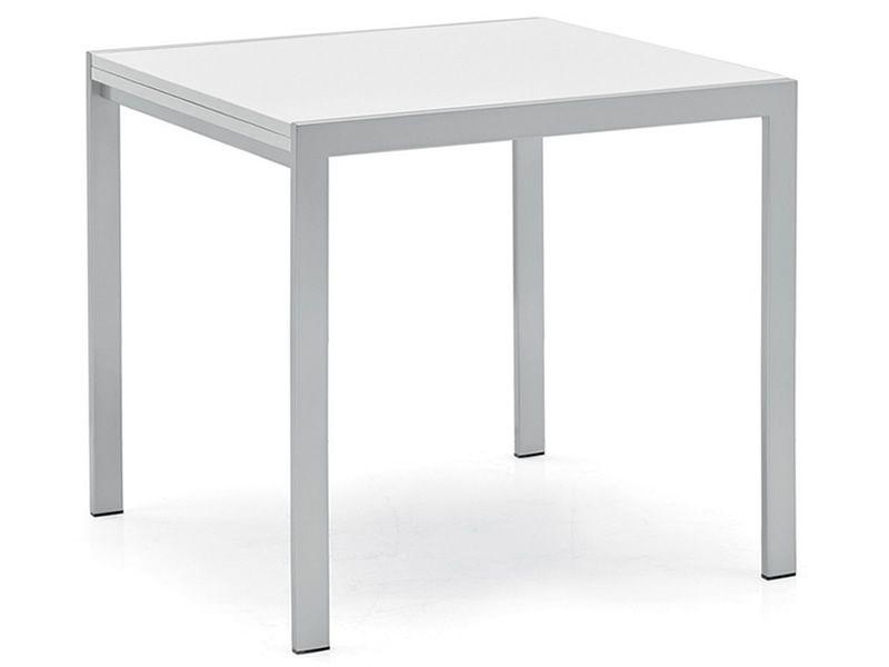 742 3 tavolo moderno in metallo con piano bianco 80x80 for Tavolo 80x80 allungabile
