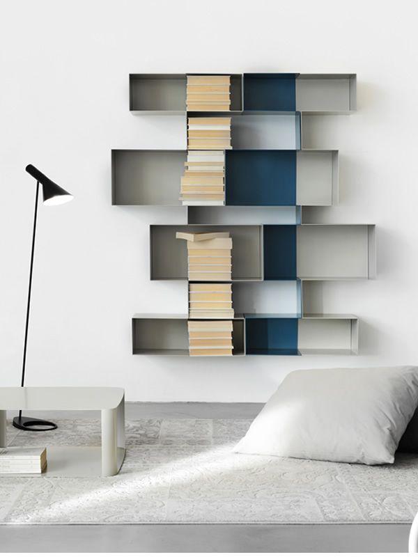 Spread M - Parete attrezzata o libreria di design in metallo ...