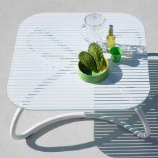 Loto Relax - Tavolino in metallo, piano 95x95cm in vetro, anche per giardino