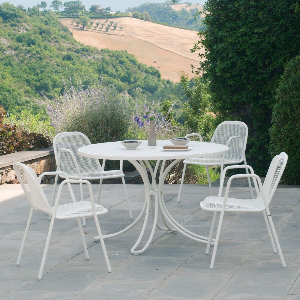 Florence r table emu en m tal pour jardin plan de travail rond de diff rentes mesures sediarreda - Table jardin emu rennes ...