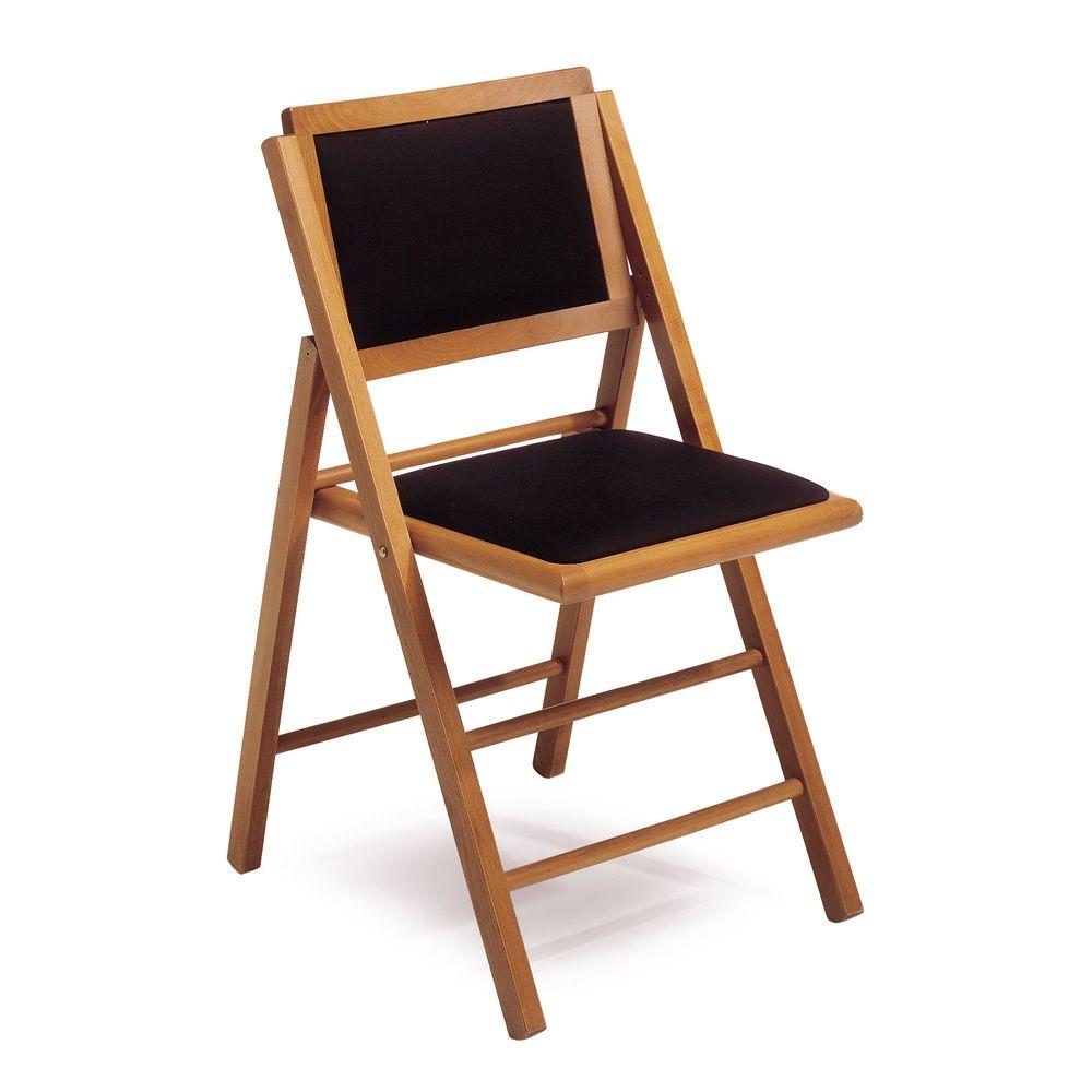 LS4 - Sedia pieghevole in legno, seduta e schienale imbottiti ...