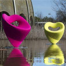 Lov - Poltrona di design Adrenalina, girevole, con base in alluminio, disponibile in diversi tessuti e colori