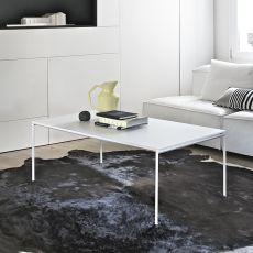 Diagonal R - Tavolino di desing Bontempi Casa, con struttura in metallo e piano in vetro, diversi colori e finiture disponibili