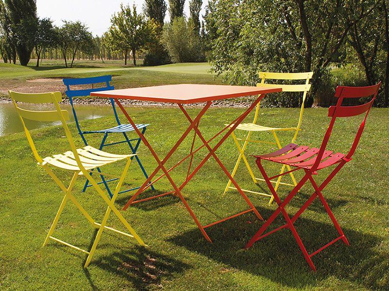 Roy t tavolo pieghevole in metallo per giardino for Sedie richiudibili