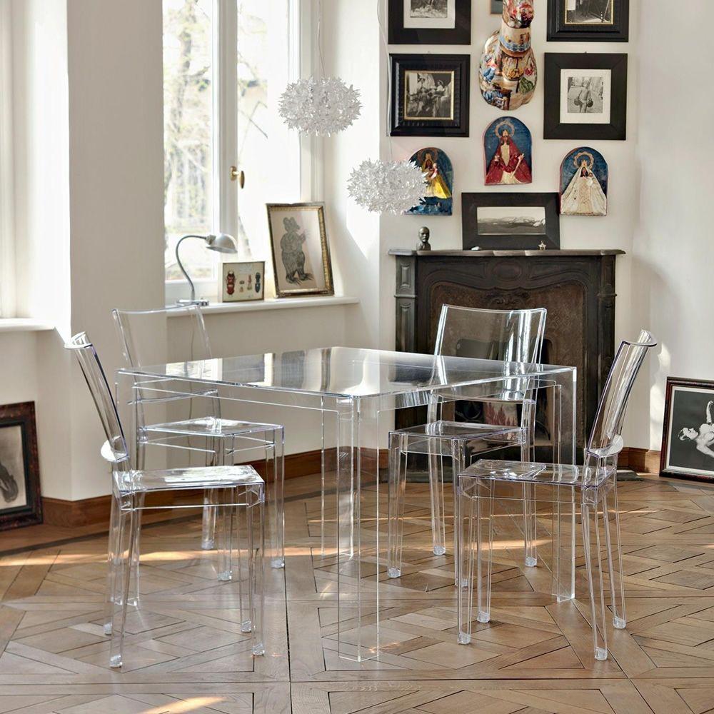 Tavoli Quadrati Di Design.Invisible Table Tavolo Kartell Di Design In Polimero 100x100