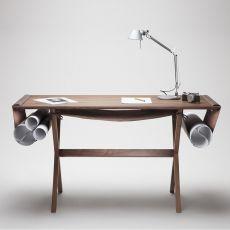Oscar - Scrivania Valsecchi in legno con sacca portaoggetti in pelle, piano 140 x 60 cm