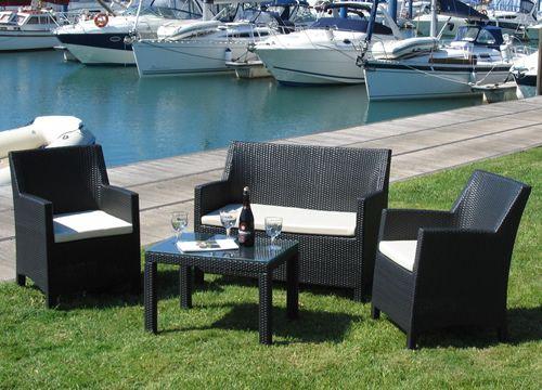 Kit esterno 04 salon de jardin en aluminium et simili rotin avec canap 2 fauteuils et table Salon de jardin imitation rotin noir