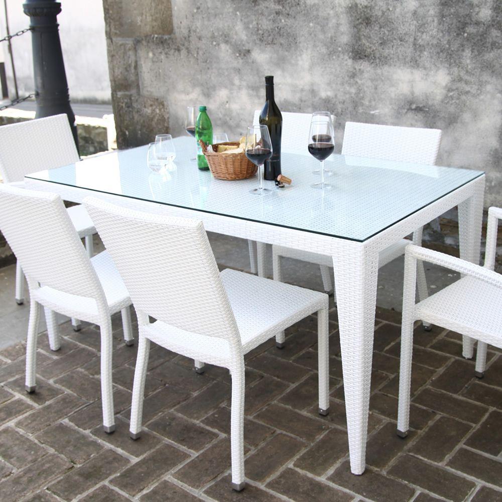 Komodo tavolo in simil rattan per esterno piano in vetro disponibili diversi colori e misure - Piano tavolo vetro ...