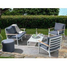 Timber Set | Outdoor metal set: sofa + 2 armchairs + 1 coffee table