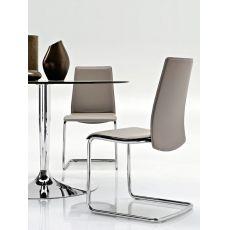 CB1010 Swing - Stuhl Connubia - Calligaris aus Metall, Sitz aus Leder, verschiedene verfügbare Farben