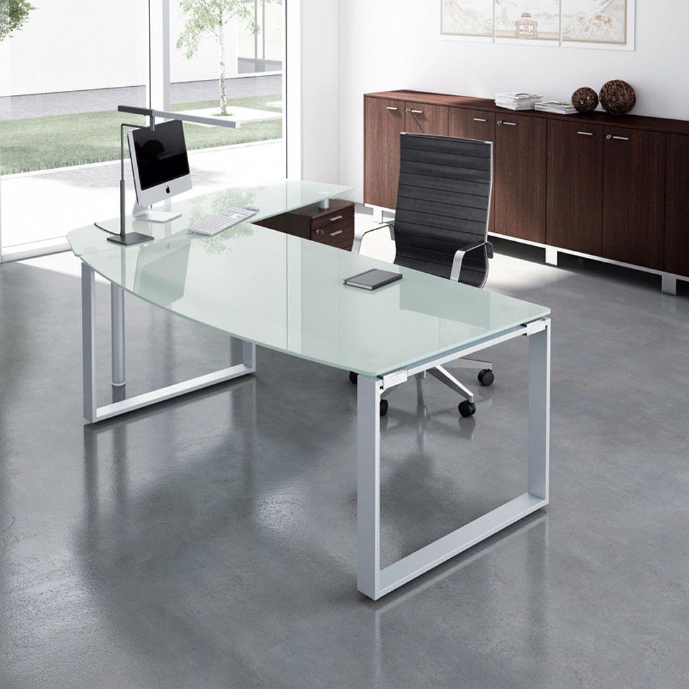 X time work 04 scrivania da ufficio con penisola e for Scrivanie in vetro e acciaio