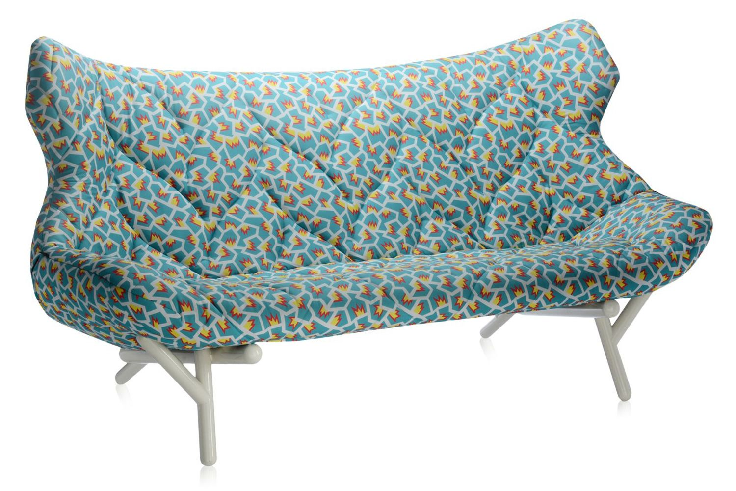 foliage sofa by sottsass  design sofa kartell goes sottsass series  2 seater  with metal frame