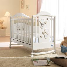 Céline Baby - Lettino Pali in legno con cassetto, rete a doghe regolabile in altezza, anche con velo