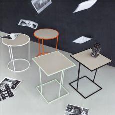 Costance - Tavolino di design in metallo, rotondo o quadrato, con piano in melaminico, disponibile in diversi colori