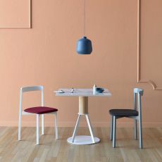 Geronimo - Miniforms square table in wood and metal, available in different dimensions and finishes