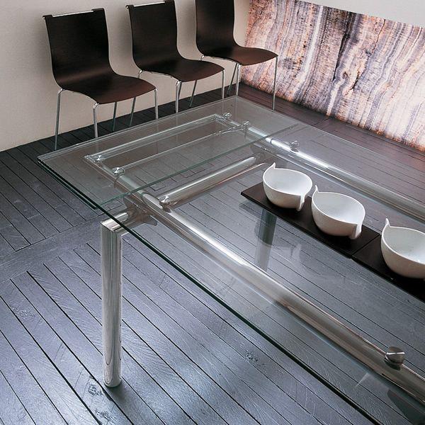 Mambo tavolo midj con struttura in metallo o vetro piano in vetro 140 x 85 cm allungabile - Tavolo trasparente allungabile ...