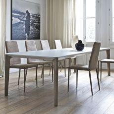 Versus Ext - Table design de Bontempi Casa, 160 x 90 cm à rallonge, ave ctructure en bois et un plateau en bois ou verre, disponible en différentes couleurs et dimensions.