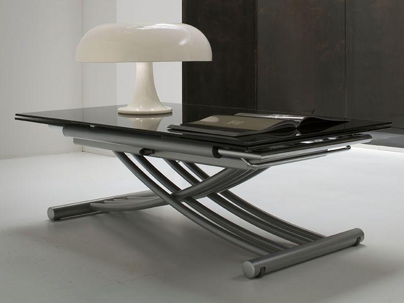 Mix table midj en m tal plateau en verre rallonge et - Table reglable en hauteur avec rallonge ...