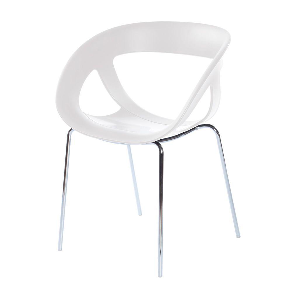 weißer designer stuhl moema design sessel aus metall und technopolymer