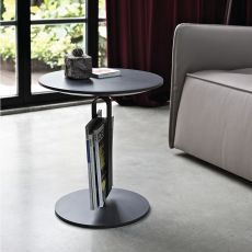 Alfred - Bontempi Casa design side table, with structure in laquered steel and wooden top, available in different colours and finishes