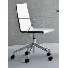 Snake Office - Sedia per ufficio, girevole e regolabile in altezza, in metallo, con seduta in tecnopolimero o rivestita in cuoio rigenerato, disponibile in diversi colori