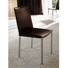 Palma - Midj metal chair with bonded leather seat, different colours available