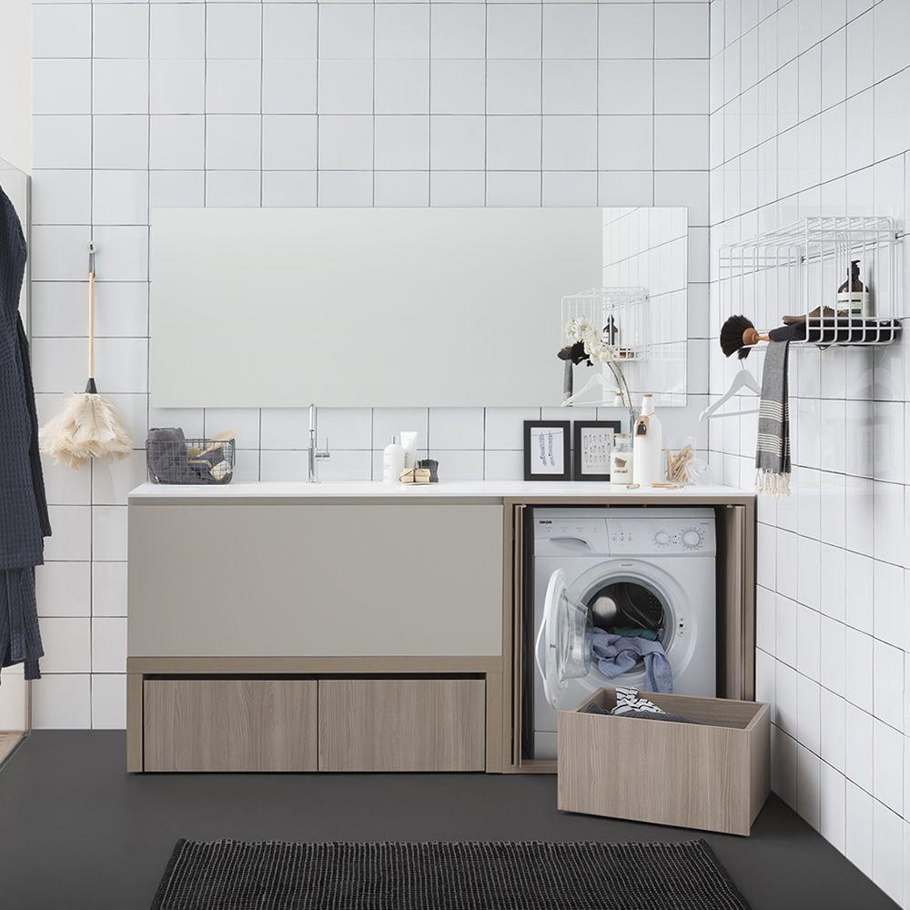 Acqua e sapone e mueble de ba o con encimera y lavabo for Mueble para lavadora ikea