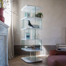 Fenice 6475A - Tonin Casa bookcase made of glass and MDF, different finishes available, height 180 cm