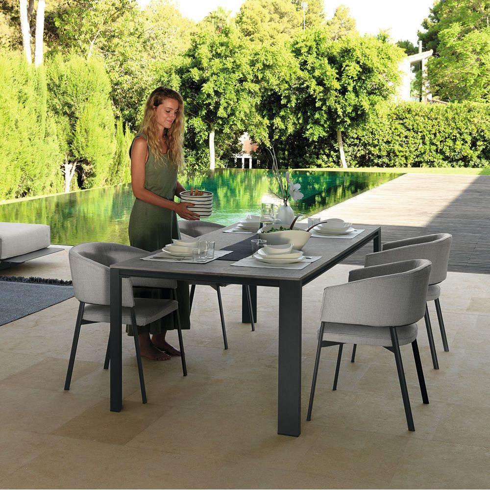 Eden/T - Table en aluminium et en grès, 220 x 100 cm, de jardin ...