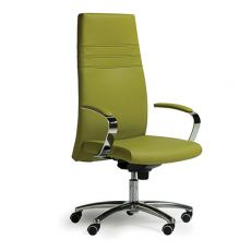 Dama New High - Executive armchair with high backrest, with armrests, available in fabric, leather or imitation leather
