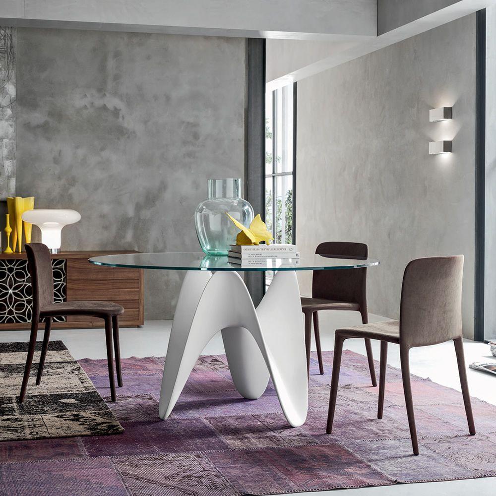 Gaya 8071 tavolo fisso tonin casa in tecnoril con piano - Tavolo rotondo vetro diametro 120 ...