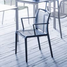 Avenica - Stackable chair with armrests, in bi-material technopolymer, available in different colours, also for outdoor