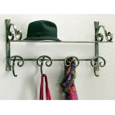 Senna B - Wall coat rack with hat shelf, made of wrought-iron, several colours