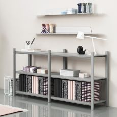 Work - Normann Copenhagen bookcase - multipurpose furniture made of wood with metal shelves, different colours, low or high