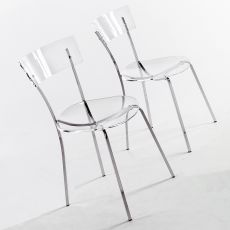 Ice - MOdern chair by Colico Design, in chromed metal and transparent methacrylate