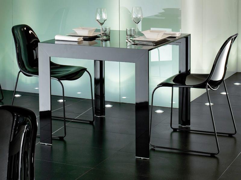 Matrix tavolo pedrali di design in alluminio con piano - Tavolo in vetro nero ...