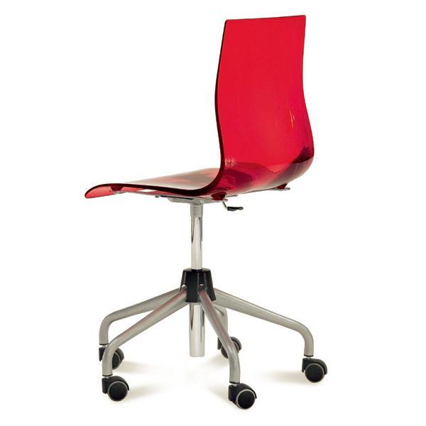 Gel d chaise de bureau domitalia en m tal et san r glable en hauteur avec roulettes en - Chaise de bureau reglable en hauteur sans roulette ...