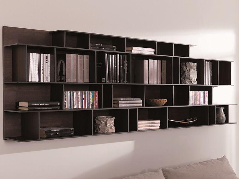 Byblos o libreria modulare da parete in legno sediarreda - Libreria a parete ...