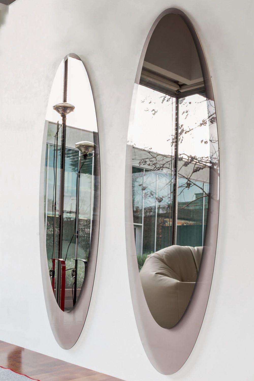Olmi 7507 specchio ellittico tonin casa con cornice in for Case in vetro