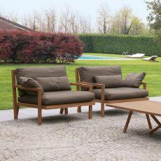 Exit Armchair - Poltrona Colico per giardino, in teak riciclato, con seduta imbottita e rivestita, disponibile in diversi colori
