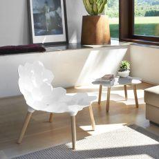 Tarta - Chaise Slide en bois, assise en polyuréthane, disponible en différentes couleurs