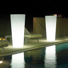 Ortensia Light - Fioriera cilindrica per esterno con luce integrata, diverse misure