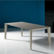 Cruz - Table design de Bontempi Casa, 140 x 90 cm extensible, en métal, équipée de plateau en différents matériaux, disponible dans un large choix de couleurs.