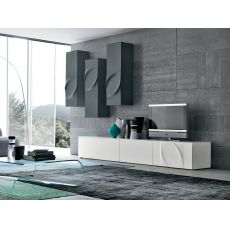 Leaves F - Tonin Casa living room furniture made of lacquered MDF, different colours available
