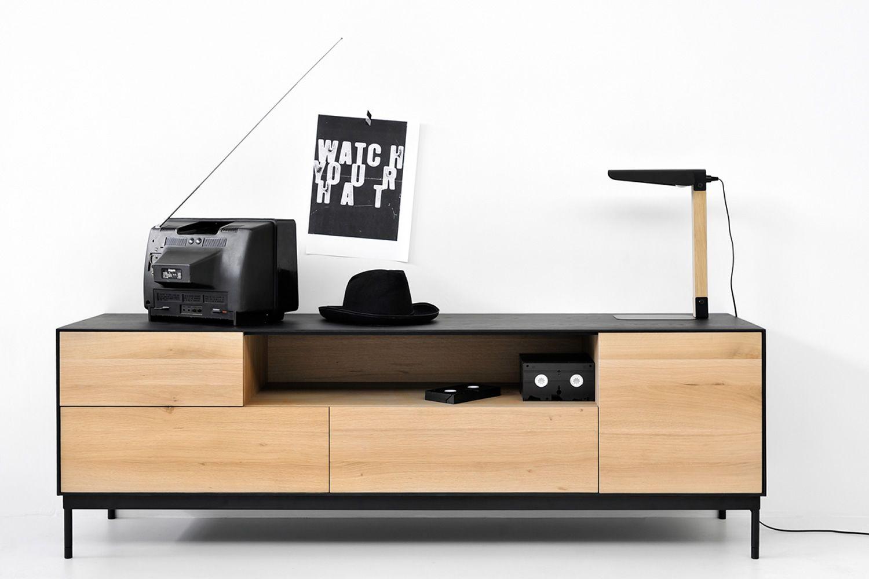 Blackbird-TV - Mobile porta TV Ethnicraft in legno con ante e ...