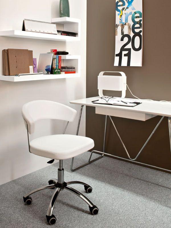 cb624 new york chaise de bureau connubia calligaris pivotante et r glable en cuir ou. Black Bedroom Furniture Sets. Home Design Ideas