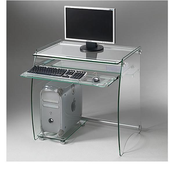 clear computertisch aus metall ablagen und herausziehbare tastaturablage aus glas sediarreda. Black Bedroom Furniture Sets. Home Design Ideas