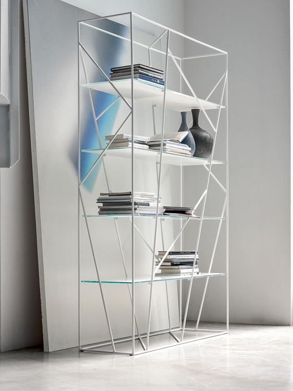 Naviglio 7247: Tonin Casa bookcase made of metal with glass or ...