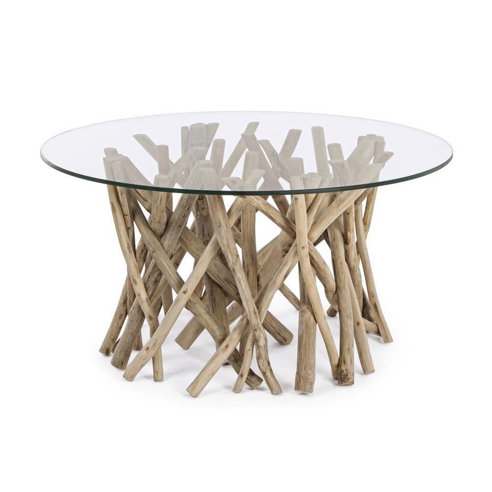 Tavoli In Cristallo Con Base In Legno.Varese Natural Tavolino Di Design Con Base In Legno Naturale E