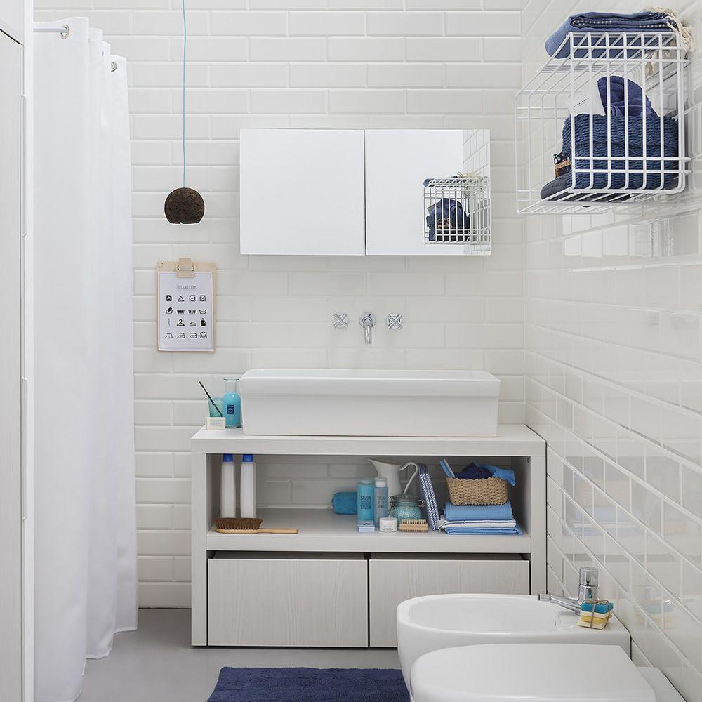 Acqua e sapone c mobile bagno con lavabo e cassettoni - Stendibiancheria da bagno ...